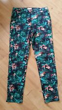 MONSOON Tropical Floral Retro Banana Leaf Tapered Cigarette Trousers Size 8 10