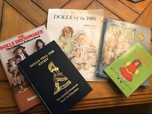 """Lot of 5 vintage Doll Reference books and """"Dolls of the 1930's"""" Paper dolls"""