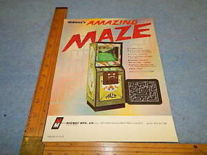 1976 Midway AMAZING MAZE Video Game Upright Advertising Flyer