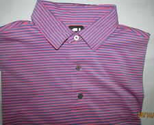 NWOT FootJoy Golf Large L Orange & Blue Fine Striped S/S Polo Shirt FJ & Logo !!