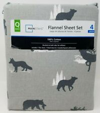 Queen Flannel 4 piece Sheet Set Wilderness Bear Deer Elk Mainstays New