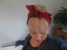Fascia per capelli Tartan Rosso Rockabilly Foderato Check Swing Land Ragazza Self TIE PIN UP