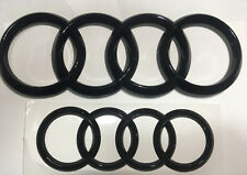 Set of Front and Rear Gloss Black Badge RING Combo For Audi Q3 Q5 Q7 A6 ~ 2019