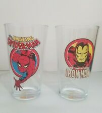 Marvel Comics Spiderman Iron Man Pint Glasses Set of 2 Vandor 16oz