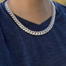 """Real Solid 925 Sterling Silver Miami Cuban Chain Italy Necklace Heavy 12MM 20"""""""