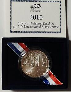 2010-W Disabled Veterans Gem UNC Commemorative Silver Dollar Original Box w/COA