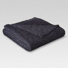 Threshold Sweater Knit Bed Blanket, Queen, Navy/Sour Cream (New with Defects)