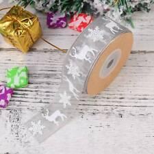 Wired White Glitter Snowflakes Sheer Christmas Ribbon. Xmas Tree Glittery Wreath