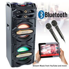 More details for bluetooth disco speaker sound system with party karaoke microphones usb 800w