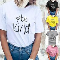 Women Short Sleeve Loose T Shirts Ladies Summer Casual Blouse Tops Shirt Tees UK