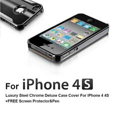 For iPhone 4 4S Luxury Steel Chrome Deluxe Cover Case + Screen Protector & Pen