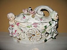 Vintage Royal Sealy Carriag Victorina Boy &Girl  Covered Serving Dish Candy Nuts
