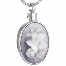 Stainless Steel White Butterfly Cremation Pendant Urn Jewelry Pet Ashes Human