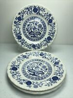 Enoch Wedgwood Blue Heritage Onion Bread Butter Plates SET of 3 ENGLAND 6""