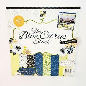 "DCWV Single-Sided Paper Pad 12""X12"" 48/Pkg ""Blue Citrus"" Half with Glitter"