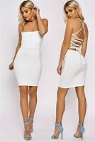 Womens Sexy Strappy Cross Lace Up Back Detail Stretchy Mini Bodycon Party Dress