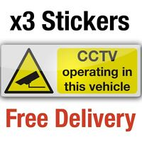 3 CCTV camera in vehicle clear WINDOW vinyl stickers 8x3cmcar taxi bus signs