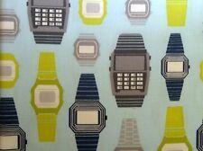 Montre digitale tissu imprimé bleu ciel Limette - Rétro Geek Mode - Kaufman par