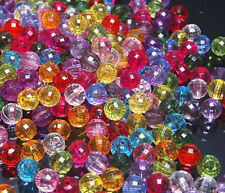 T007 Faceted GLOBE Round Plastic Beads Jewellery Findings 10mm 50pcs