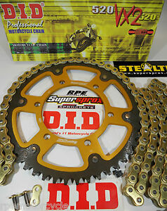 Triumph 600 Daytona Chain and Sprockets Kit  Supersprox - DID Gold 525 X-Ring