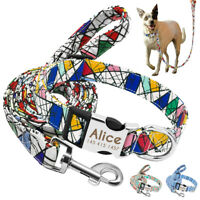 Nylon Personalized Dog Collar Engraved Puppy Collar with Leash Custom Printed