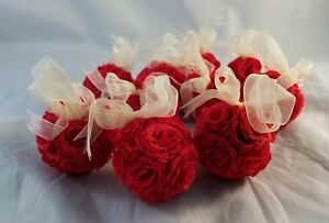 """Lot of 10 Red Rose Flower Pomade Mini Small Wedding Kissing Ball Décor Ribbon 2"""""""