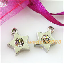 5 New Tiny Star Charms Crystal Dull Silver Pendants Craft DIY 10.5x13mm