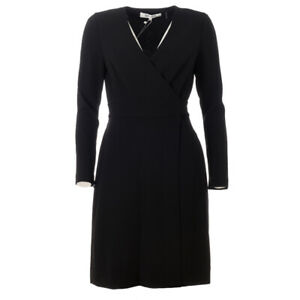 DVF DIANE VON FURSTENBERG Dress Black Wrap A-Line RRP £322 BG