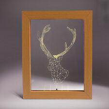 Deer Photo Frame 3D Illusion LED Night Light Table Desk Lamp USB Home Decor Gift