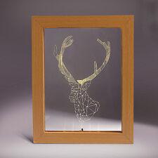 Deer Photo Frame 3D Illusion LED Night Light Table Desk Lamp USB Home Decor Gift