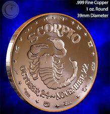 Scorpio Horoscope Collection 1 oz .999 Copper Round