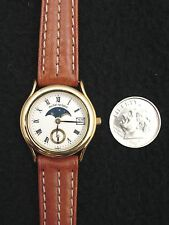 Vintage French Michel Herbelin Ladies Watch Gold Leather AM/PM Display