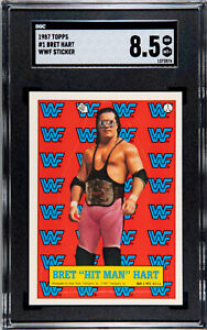 1987 TOPPS WWF #1 BRET HART ROOKIE WWF STICKER SGC 8.5 NM MT+ #1373576
