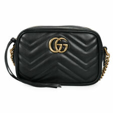 Gucci GG Marmont Matelasse Mini Shoulder Leather Bag - Black