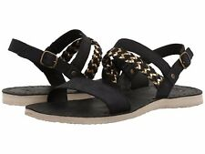 NIB Women's Authentic UGG® Elin Black Leather Sandals Size 10 New
