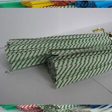 "100pcs Plastic/Paper Green Stripe 4"" x 1/4"" Twist Ties - won't rip or pull off"