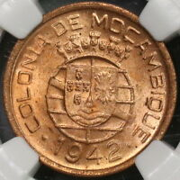 1942 NGC MS 64 RED Mozambique 10 Centavos Coin (18100206CZ)