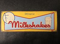 RARE Old Vtg Mummert Metal Advertising Sign Delicious FROSTY Milkshakes USA