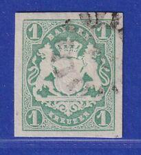 Altdeutschland Bayern Wappen 1 Kreuzer grün Mi-Nr. 14 mit Mühlradstempel