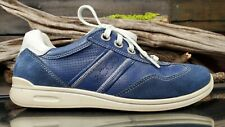 ECCO SWomens 38/7-7.5 US Blue Leather Casual Sneaker Lace Up Soft Walking Shoes