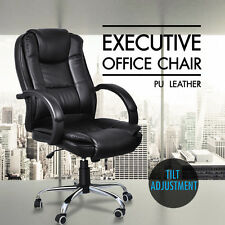 Black Brown Executive Premium PU Leather Office Computer Chair Metal Base