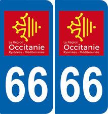 2 Stickers autocollant plaque immatriculation Auto 66 Occitanie - LogoType