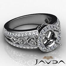 Round Semi Mount 0.75Ct Diamond Engagement Halo Pave Set Filigree Ring Platinum