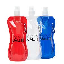 3x Faltbare Trinkflasche Wasserflasche Fahrrad Trinkbeutel Karabiner Extraleicht