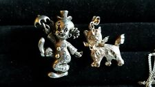 Sterling Clown pin and cat pendant