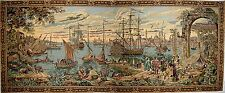 "NAUTICAL VENICE HARBOUR TAPESTRY WALL HANGING 64"" X 27"""