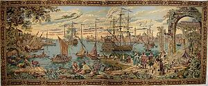 """NAUTICAL VENICE HARBOUR TAPESTRY WALL HANGING 64"""" X 27"""""""