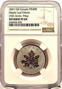 2021 Canada $300 Maple Leaf 25th Ann 1 oz 9995 Platinum Coin - NGC REV PF 69