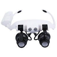 Portable 10x 15x 20x 25x Head Wearing Magnifying Glass 2 LED Magnifier Loupe ABS