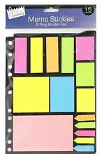 15 Assorted Neon Memo Stickers & Ring Binder File Post School Office 5928